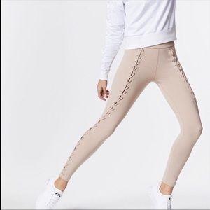 Tan nude Carbon 38 Twist up seam leggings